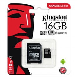 Карта памяти Micro SDHC 16Gb Kingston Class 10 Canvas Select UHS-I U1, 80 Мб/с + адап. SD (SDCS/16GB